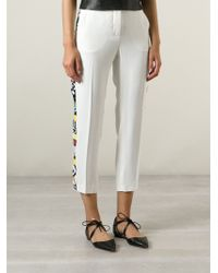 MSGM Cropped Embellished Trousers - Lyst