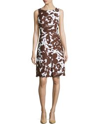 Michael Kors Blossom Printed Sleeveless Pleated A-Line Dress - Lyst