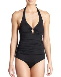 Heidi Klein One-Piece Ruched Halter Swimsuit - Lyst