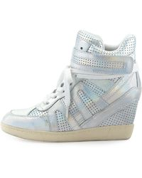 Ash Beck Iridescent Leather Wedge Sneaker - Lyst