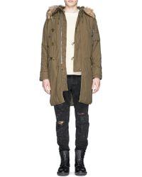 NLST Fur Trim Fleece Hood Padded Parka green - Lyst
