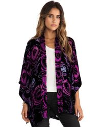 Anna Sui Peony Print Burnout Velvet Kimono - Lyst
