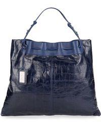Badgley Mischka Adalyn Crocodile-embossed Leather Tote - Blue