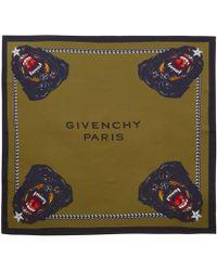 Givenchy Green Rottweiler Silk Twill Scarf