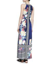 Ranna Gill - Beaded-Neck Floral-Print Maxi Dress - Lyst