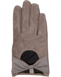AKIRA - Suede Bow Gloves  - Lyst