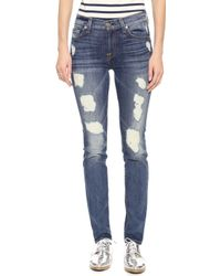 7 For All Mankind The Super Destroy Skinny Jeans - Destroyed Deep Indigo 2 - Lyst