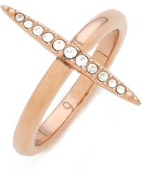 Michael Kors Matchstick Ring Rose Goldclear - Lyst