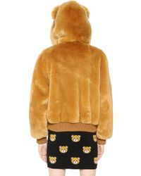 Moschino Teddy Bear Hooded Faux Fur Bomber Jacket - Natural