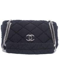 Chanel Preowned Black Nylon Medium Bubble Flap Bag - Lyst
