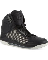 DSquared2 Leather Hitop Trainers Black - Lyst