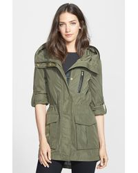 Mackage Leather Trim Hooded Raincoat - Lyst
