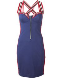 Love Moschino Crisscross Back Bustier Dress - Lyst