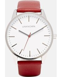 Unknown - Burgundy Leather Strap Watch With White Dial - Lyst