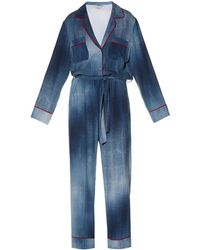 Fendi Contrast-piping Cady Jumpsuit - Blue