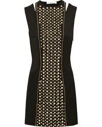 Balmain Studded Wool Mini Dress - Lyst