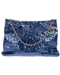 Chanel   Pre-owned: Navy Blue Crackled Patent Leather Puzzle Tote Bag   Lyst