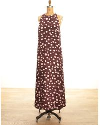 Sophie Hulme Long Silk Racer Back Dress In Burgundy & Cream Print By - Lyst