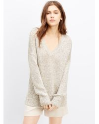Vince Metallic Knit V-Neck Sweater - Lyst
