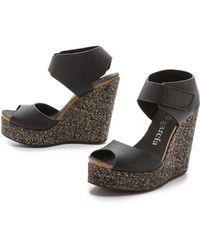 Pedro Garcia Triana Wedge Sandals - Black - Lyst