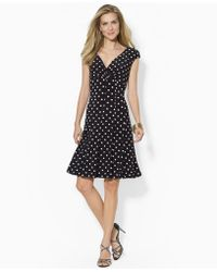 Lauren by Ralph Lauren Petite Polka-Dot Cap-Sleeve Dress - Lyst