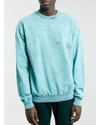 Topman Green Acid Wash Vintage Oversize Sweatshirt - Lyst