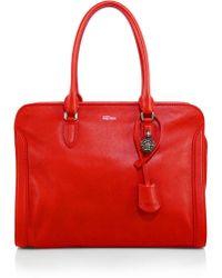 Alexander McQueen Padlock Large Zip Satchel red - Lyst