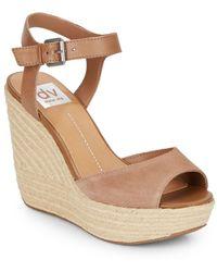 DV by Dolce Vita Nadiyah Suede, Leather & Jute Platform Wedge Sandals - Lyst