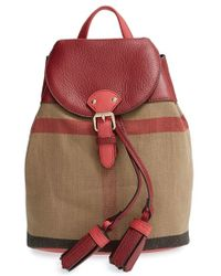 Burberry Check Print & Leather Mini Backpack red - Lyst