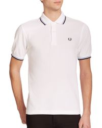 Fred Perry Twin Tipped Cotton Polo white - Lyst
