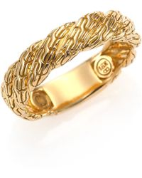 John Hardy Classic Chain Yellow Gold Flat Twisted Chain Band Ring - Lyst