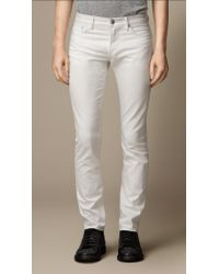 Burberry Slim Fit White Jeans - Lyst