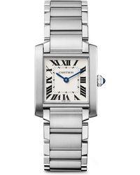 Cartier Tank Francaise Stainless Steel Medium Bracelet Watch - Lyst