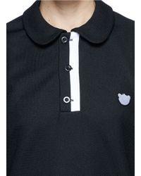 Nicopanda Panda Appliqué Polo Shirt black - Lyst