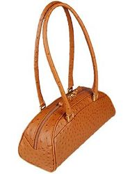 Fontanelli Tobacco Stamped Italian Leather Bag - Brown