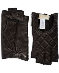 Michael Kors Quilted Leather Fingerless Gloves - Lyst