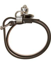 Alexander McQueen Silver Double Wrap Bracelet - Lyst