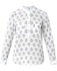 Rebecca Taylor Block-Print Cotton And Silk Top - Lyst