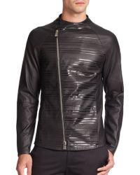 Emporio Armani Striped Leather Moto Jacket - Lyst
