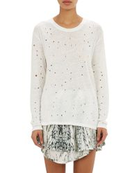 IRO Distressed Slub-Knit Tee - Lyst