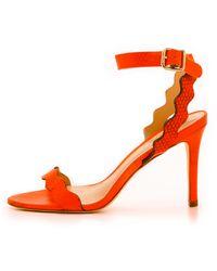 Loeffler Randall Amelia Ankle Strap Sandals - Orange - Lyst