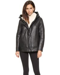 Helmut Lang Short Shearling Leather Coat  - Lyst