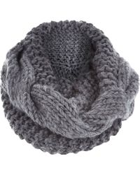 River Island Grey Chunky Cable Knit Snood - Lyst