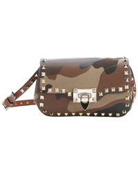 Valentino Camel And Brown Camouflage Patchwork Leather 'Rockstud' Shoulder Bag - Lyst