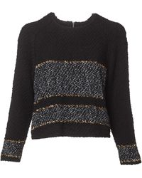 Suno | Bouclé Wool Knit Black And Gold Striped Pullover | Lyst