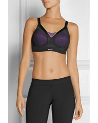 Shock Absorber Active Shaped Mesh And Stretch-Jersey Sports Bra - Black