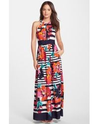 Eliza J Print Halter Maxi Dress - Lyst