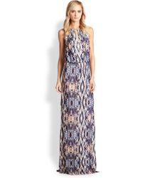 Parker Moriah Beaded Cutout Tribal-Print Maxi Dress - Lyst