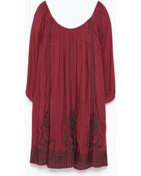 Zara Embroidered Dress - Lyst