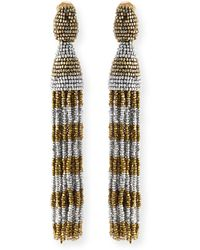 Oscar de la Renta Beaded Stripe Tassel Earrings - Lyst